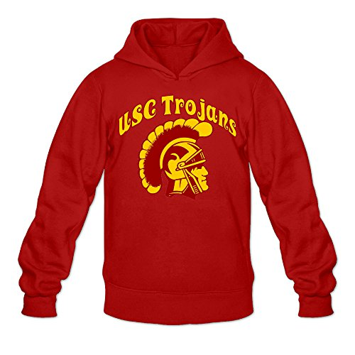 Men's USC Trojans 100% Cotton Long Sleeve Hoodie Red Size (State Liverpool Halloween)