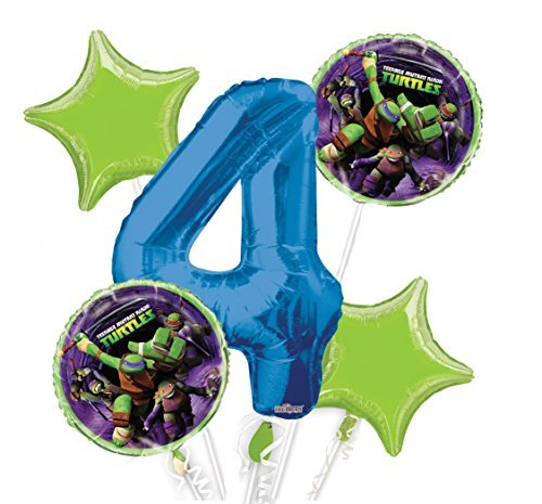 Ninja Turtles Balloon Bouquet 4th Birthday 5 pcs - Party (Ninja Turtle Birthday Party Supplies)