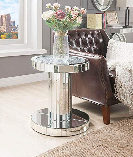 (Acme Furniture Industry, INC End Table in Mirrored and Faux Stones)