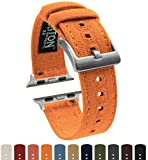 Barton Canvas Watch Bands - Choose Color - Compatible with All Apple Watches - 38mm, 40mm, 42mm, 44mm - Pumpkin Orange 42mm