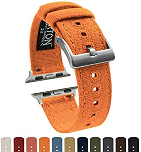 BARTON Canvas Apple Watch Bands - Pumpkin Orange - For 42mm Apple Watch, Watch 2 & Watch 3