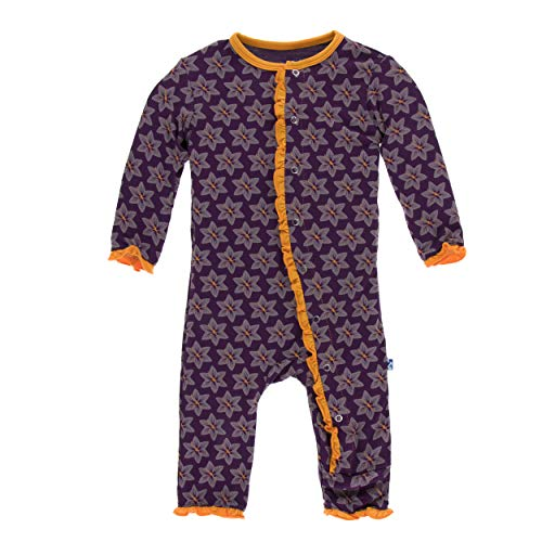 Kickee Pants Little Girls Print Layette Classic Ruffle Coverall with Snaps - Wine Grapes Saffron, 6-9 Months
