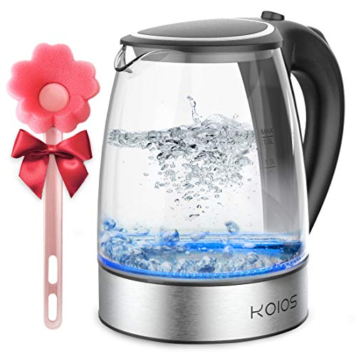 KOIOS 1.8L Electric Kettle, 1500W Borosilicate Glass Tea Kettle, Fast Heating LED Cordless Kettle, Auto Shut-Off Boil-Dry Protection Stainless Steel Inner Lip, Tea Pot, BPA-Free, Water Boiler