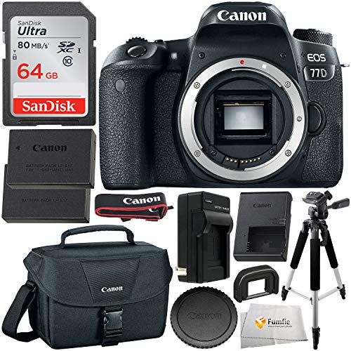 Canon EOS 77D DSLR Camera (Body Only, 1892C001) with Essential Accessory Bundle - Includes: SanDisk Ultra 64GB SDXC Memory Card, Extended Life Replacement Battery with Charger & More