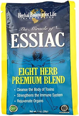Essiac Tea, Eight Herb Upgraded Formula, Certified Organic Essiac, Certified by QAI, San Diego, Four 1 Oz. Packets Makes 4 One Quart Bottles 1 Gal. Essiac Tea , 30 Day Supply