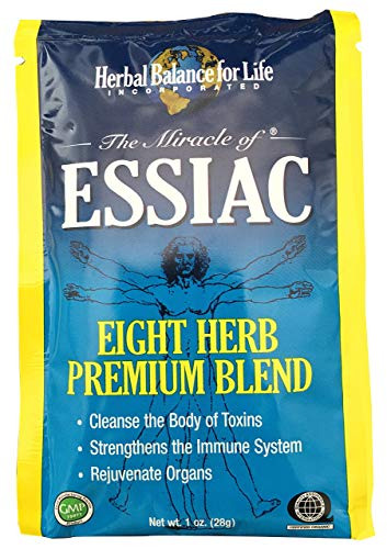 Essiac Tea, Eight Herb Upgraded Formula, Certified Organic Essiac, Certified by QAI, San Diego, Four 1 Oz. Packets Makes 4 One Quart Bottles (1 Gal.) Essiac Tea!, 30 Day ()