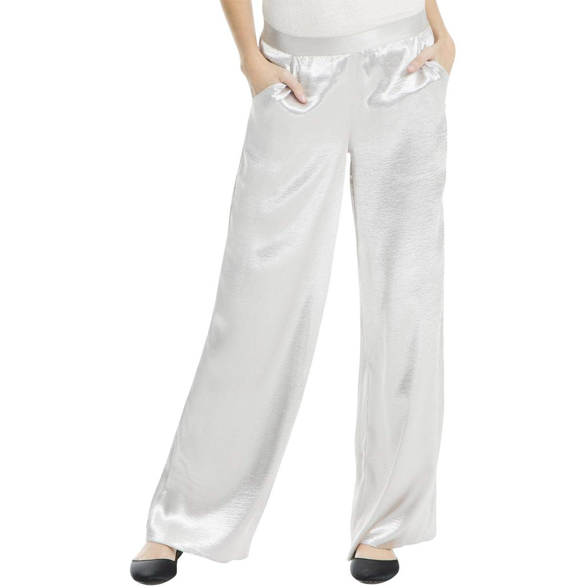c57543ffd3a Max Studio Womens Satin Flat Front Wide Leg Pants Silver XL at Amazon  Women s Clothing store