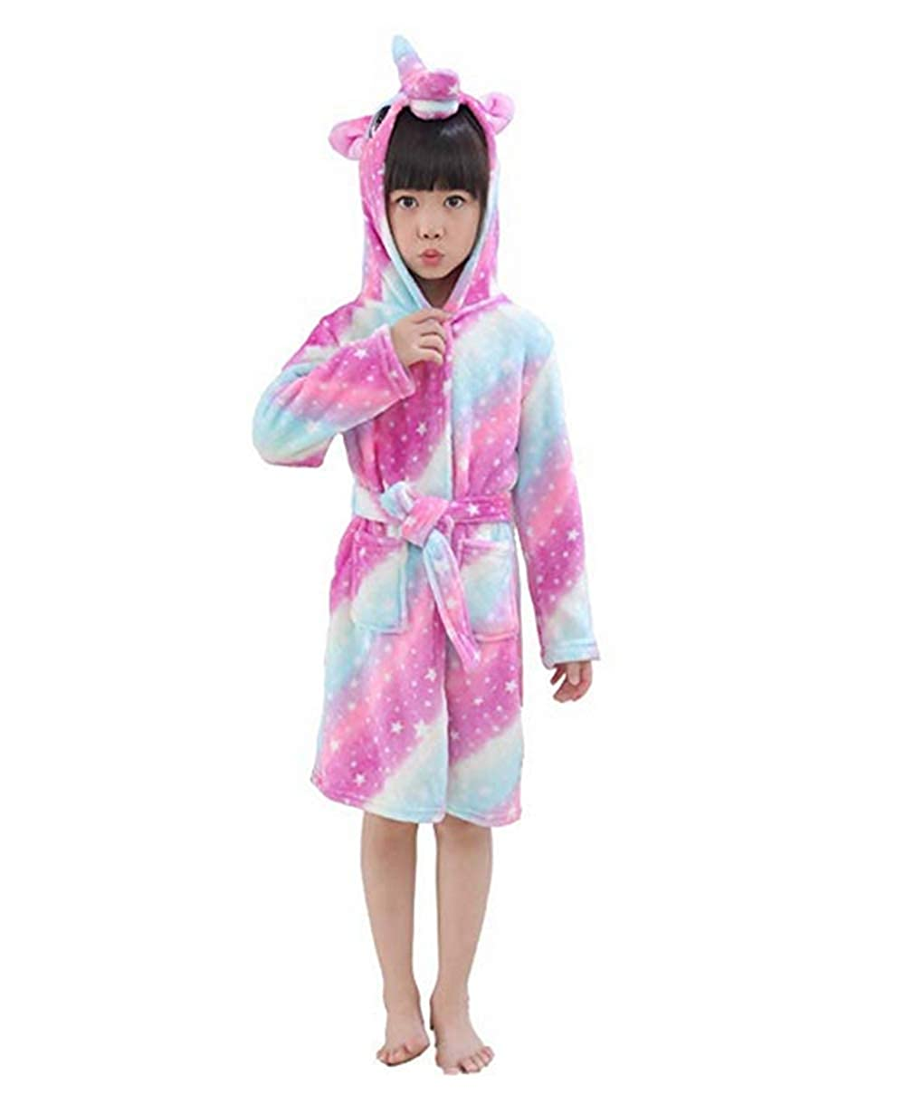 Mystery&Melody Kids Unicorn Bathrobe Flannel Hooded Pajamas Cosplay Costumes Animals Dress up Unisex