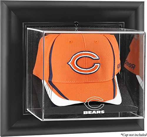 Chicago Bears Framed Wall Mounted Logo Cap Display Case (Chicago Bears Case Black Football)