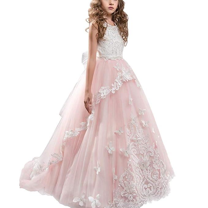 IWEMEK Appliques Vestido de Primera Comunión Princesa Vestido de Niña de Flores Vestidos de Dama De