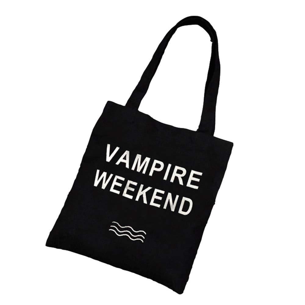 WHXYAA Weekend Printed Canvas Bag Shoulder Bag Tote Bag Ladies Shopping Bag(Black) Simple Atmosphere
