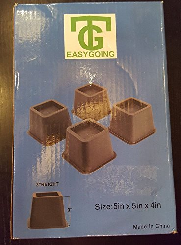 TG EASYGOING 4-pack 3 Inch Height Bed Risers, Furniture Rise