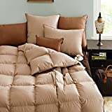 Luxurious Goose Down Duvet Comforter ,Medium Weight, Baffle Box Design.100%Cotton Cover,Warm and Fluffy, Queen Size, Khaki (Queen:90x90 inches)