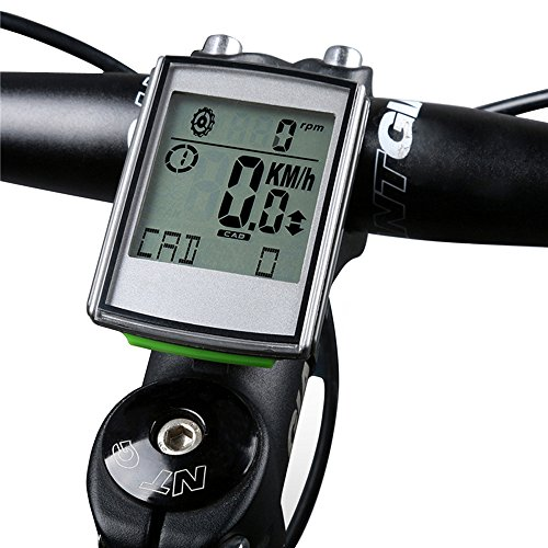 YHOUSE Measuring Cadence Bike Computer Cycle Odometer Speedometer for Bicycle - Weatherproof LCD Backlight Display Automatic Wake-up Wireless Cycling Computers with Heart Rate Monitor Straps by YHOUSE