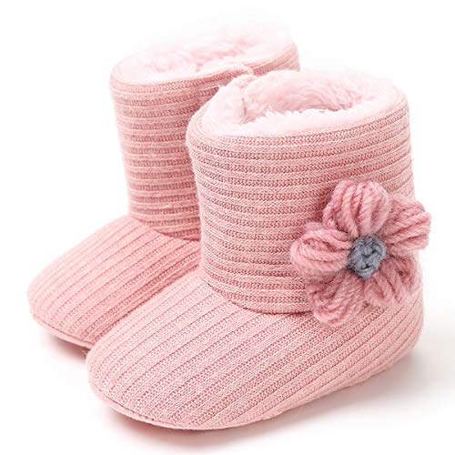 LIVEBOX Newborn Baby Cotton Knit Booties,Premium Soft Sole Flower Anti-Slip Warm Winter Infant Prewalker Toddler Snow Boots Crib Shoes for Girls Boys
