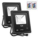 LE 10W RGB LED Flood Lights, Outdoor Color Changing LED Security Light, 16 Colors & 4 Modes with Remote Control, IP65 Waterproof LED Floodlight, US 3-Plug, Wall Washer Light Pack of 2 Units