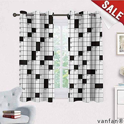 Big datastore Marvel Curtain Panel,Word Search Puzzle,Classical Crossword Puzzle with Black and White Boxes and Numbers,Custom for Girls/BoysBlack and White,W63 Xl45 -