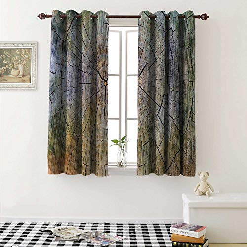 shenglv Rustic Waterproof Window Curtain Annual Rings of Wood Growth Aging Theme Dirty Inner Tree Body Branch Whorls Width Design Curtains for Party Decoration W84 x L72 Inch Brown