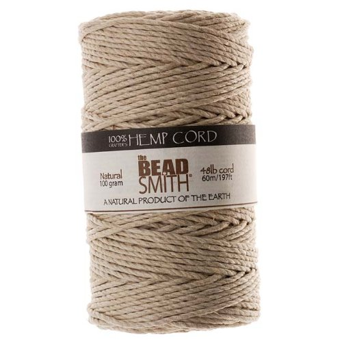 Beadaholique Natural Hemp Twine Bead Cord, 2mm by 197-Feet ()