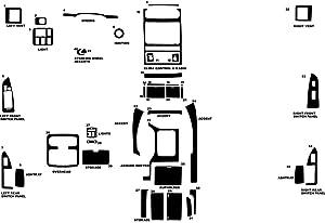 Rvinyl Rdash Dash Kit Decal Trim for Lexus GX 2003-2009 - Carbon Fiber 3D (Black)