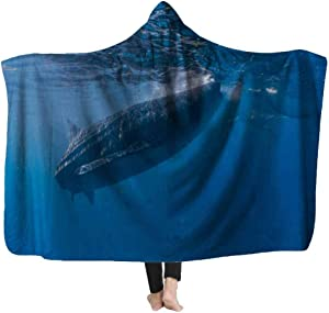 Capsceoll Kids' Blankets and Throw Blanket,Whale Shark Watching in Closeup Cebu Fed Krill 60X80 Inches Fleece Plush for Girls Boys Kids Blanket for Home
