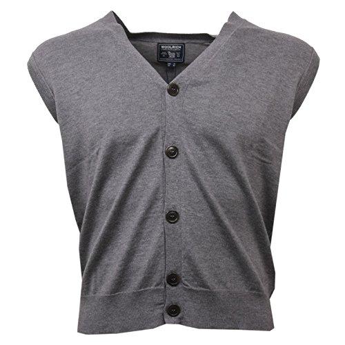 Sweater Gilet C9390 Sleeveless Woolrich Uomo Smanicato Cardigan Men Grigio OPxqfPw0