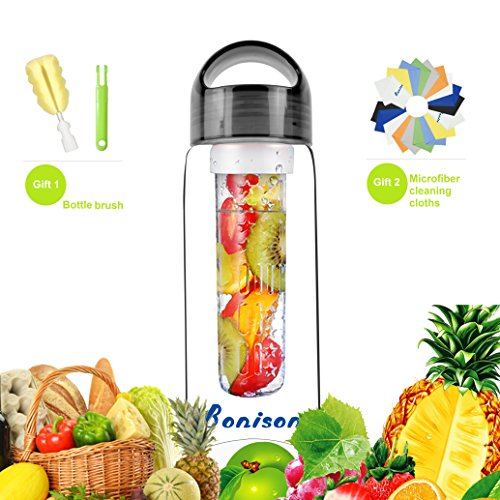 Bonison Sporty Tritan fruit infuser water bottle,Leak Proof ,Trendy Durable with Handle for fruit,Juice, Iced Tea, Lemonade & Sparkling Beverages (23 Oz) (700T-Black)
