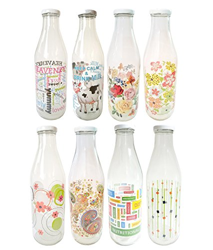 Favola Printed Designer Italian Freeze Safe Air Tight Flip Cap Clear Glass Water, Milk and Juice Bottle (1000 ml) ,Pack of 1