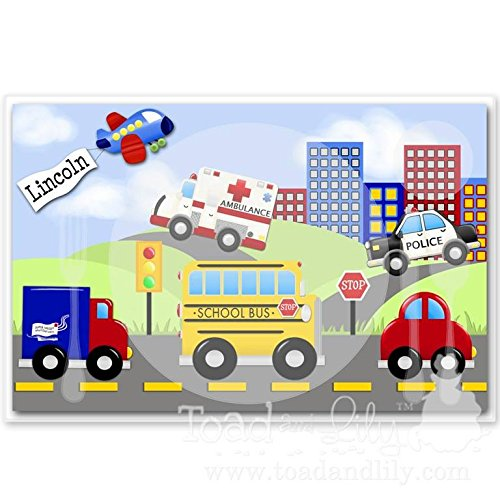 Kids PLACEMAT Transportation Childrens Personalized Wipe-able Place Mat Laminated Kids Placemat with Name PLM005