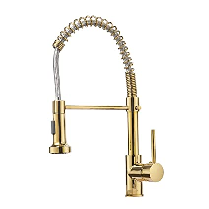 OWOFAN Single Handle 16-Inch Commercial Spring Kitchen Faucet with Dual  Function Pull Down Spray Head, Polished Gold Kitchen Sink Faucet 9009K