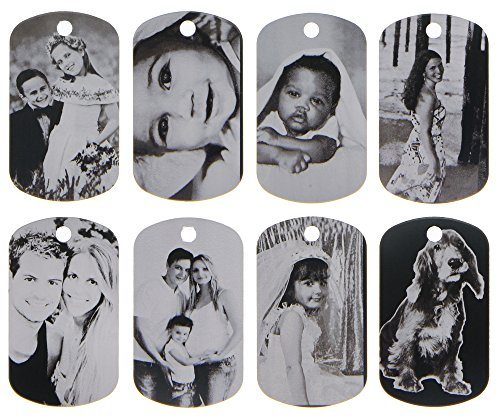 ElimL (TM) Aluminum Personalized Laser Photo Dog Tag Picture Pendant with 24 Inch Ball Chain