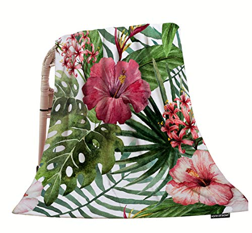 HGOD DESIGNS Tropical Flower Throw Blanket,Watercolor Summer Hawaii Palm Tree Leaf and Tropical Plant Flower Soft Warm Decorative Throw Blanket for Baby Toddler or Pets Cat Dog 30