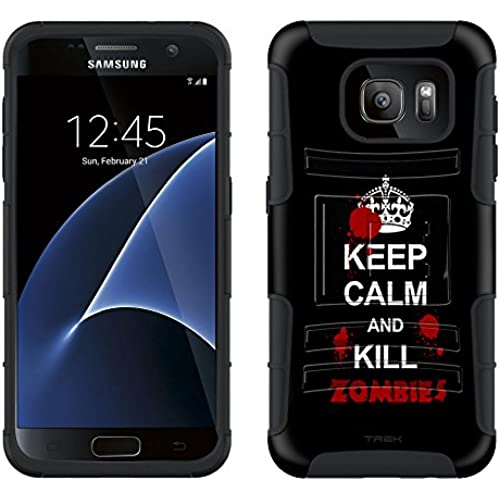Samsung Galaxy S7 Armor Hybrid Case KEEP CALM Kill Zombies on Black 2 Piece Case with Holster for Samsung Galaxy S7 Sales