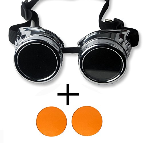 New Sell Vintage Steampunk Goggles Glasses Welding Cyber Punk Gothic - Silver Frame with 2 Orange - Sunglasses Goggle