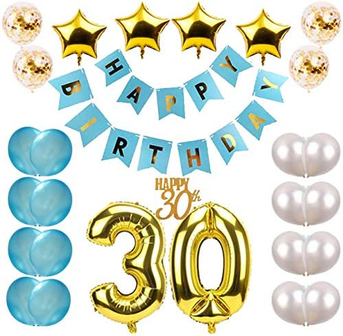 30Th Birthday Party Decorations Kit Large Happy Banner Big 30 GOLD Decor Foil Ba