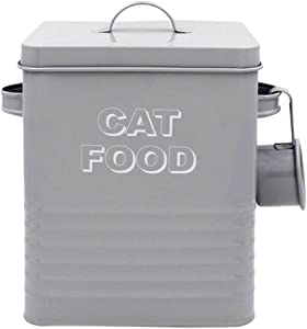 Lesser & Pavey New Sweet Home Cat Food Tin with Scoop, Metal, Grey, 18 x 15 x 25 cm