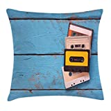 Ambesonne Indie Throw Pillow Cushion Cover, Vintage Cassette Tapes on Aqua Wooden Table Close Up Photo Retro Music Old School, Decorative Square Accent Pillow Case, 16 X 16 Inches, Multicolor