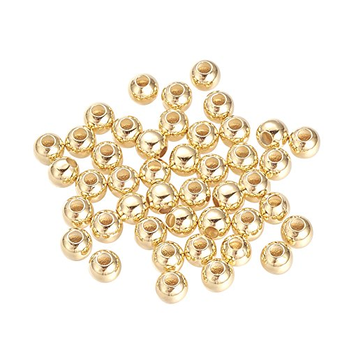 NBEADS 1000 Pcs 4mm Brass Beads Round Metal Spacer Beads Loose Beads for DIY Jewelry Making Findings - Real Gold-Filled