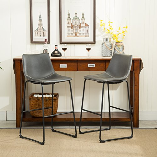 Antique Bar Black Stools (Roundhill Furniture PC186GY Lotusville Vintage PU Leather Bar Stools, Antique Gray, Set of 2)
