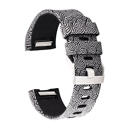 AIWELL for Fitbit Charge 2 Bands,Silicone Adjustable Replacement Sport Strap Printed Bands with Classic Buckle for Fitbit Charge2 HR,Fitbit Charge 2 Accessories Wristbands (Pattern-8, Small)