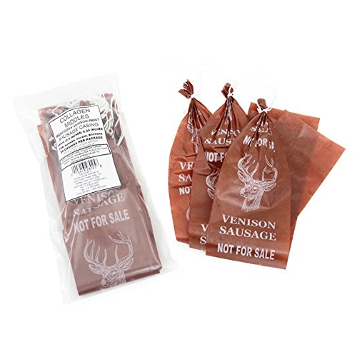 TSM Mahogany Deer Print Collagen Sausage Casings, 65mm, Pre-Tied (20pcs)
