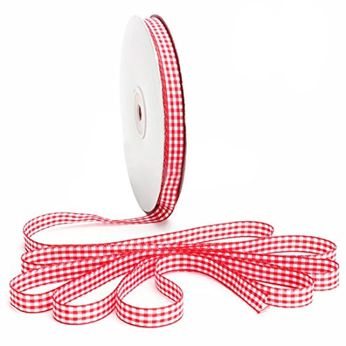 Gingham Ribbon – TOOGOO(R)45m Full Reel Cut Lengths Gingham Ribbon Sewing Crafts, 15mm Wide Red