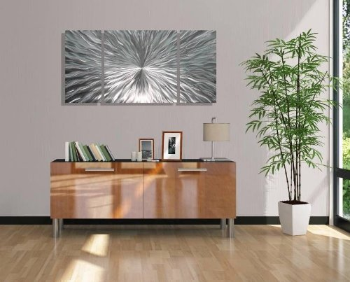 Silver Metal Wall Art by Jon Allen - Modern Abstract Metal Panel Wall Art - Home Decor, Home Accent, Contemporary Metallic Wall Sculpture, Enlivenment III, 50'' x 24''
