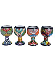 Margarita Cup Ceramic Talavera Set Of 4 Pack Decorative Home Kitchen Design  And Patio Garden Pottery