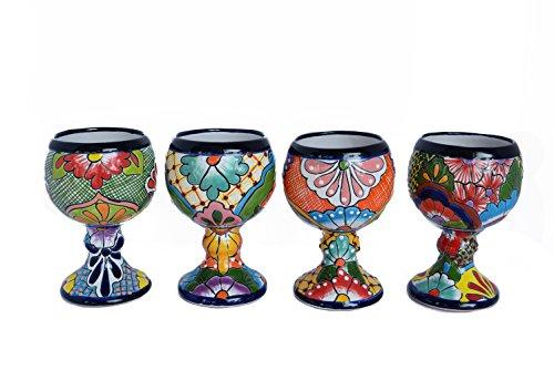 Ceramic Talavera Set of 4 Pack Decorative Margarita Glasses Home Kitchen Design And Patio Garden Pottery by Talavera Galleria