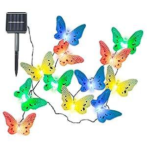 Ucharge S12 Fiber Optic Butterfly Shaped 12 LED Solar String Lights, Multi