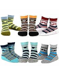 TeeHee Kids Boys Stripe Cotton Crew Socks 6 Pair Pack