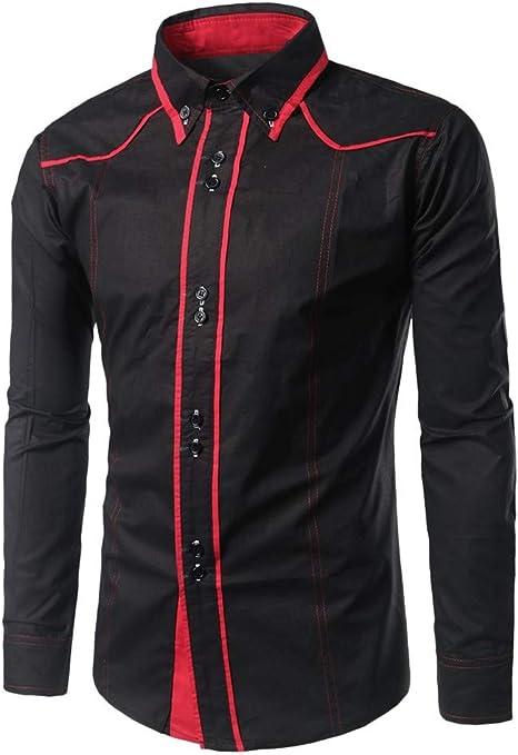 routinfly-Top da uomo Camisa de Hombre Elegante, Estilo de Marca Informal, de Manga Larga, Estampada, Camisa de Hombre de Ropa para niños, Suave y cómoda de los Hombres, Hombre, Negro, M: Amazon.es: