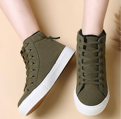 KHSKX-Warm Winter Women'S Shoes High Help Shoes Cotton Shoes Korean Version Of The Flat Footwear Boots Plus Velvet Leisure Student Shoes Women'S Snow Boots 36 yHKlmjbfb