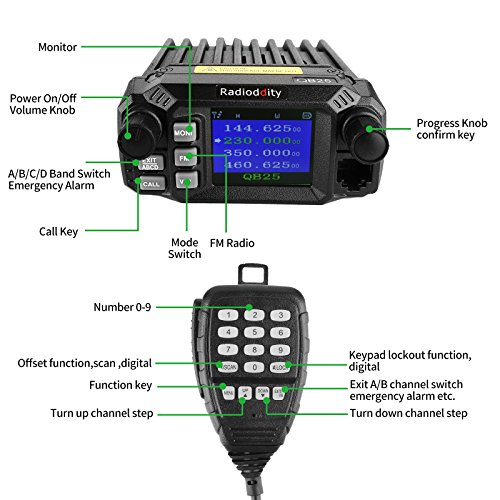 Radioddity QB25 Pro Quad Band Quad-standby Mini Mobile Car Truck Radio, VHF UHF 144/220/350/440 MHz, 25W Vehicle Transceiver with Cable & CD + 50W High Gain Quad Band Antenna by Radioddity (Image #3)